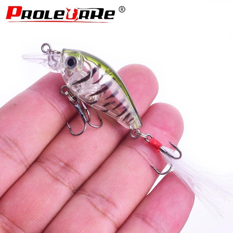 1Pcs Fishing Lure 45mm 3.5g Crank Swim Bait Artificial Hard Bait With Feather Hooks Crankbait Wobblers Minnow Fishing Tackle