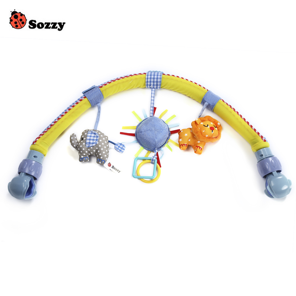 Sozzy Baby Strollers Car Hanging Toys Clip Seat Activity Bar Bed Crib Tots Cots Rattles Seat Plush Mobile Animals Zebra Rattles