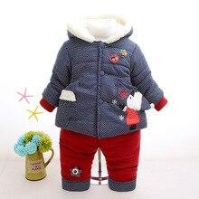 Hiver chaud Velours Enfants Vêtements Bébé Filles Vêtements Set Enfants Vêtements Définit Enfant Fille Vêtements Coréen 2016 Nouveau 2 pcs manteau + Pantalon