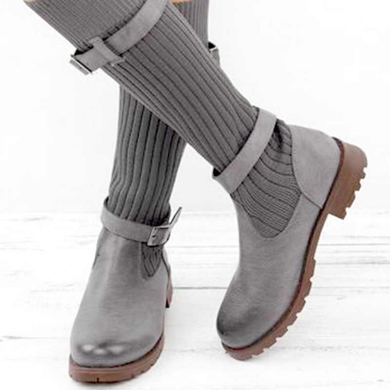 Moda damska kolana elastyczne Chunky Stretch skarpety buty 2019 nowe panie jesień i zima Sexy botki Plus rozmiar