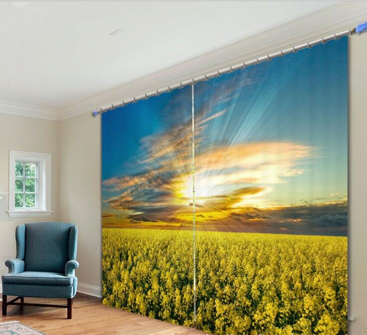 Chinese yellow rape flower Curtains luxury office Bedroom ...