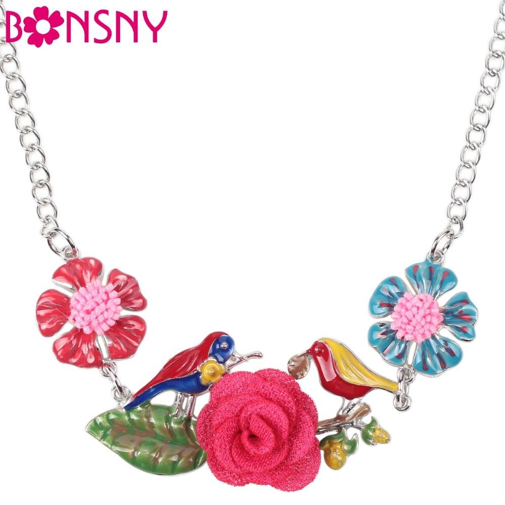 Bonsny Maxi Legierung Blume Vogel Halskette Kette Emaille Schmuck Bunte Anhänger 2016 Neue Modeschmuck Für Frauen Aussage Charme