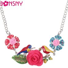 Bonsny Maxi Alloy Flower Bird Necklace Chain Enamel Jewelry Colorful Pendant 2016 New Fashion Jewelry For Women Statement Charm(China)