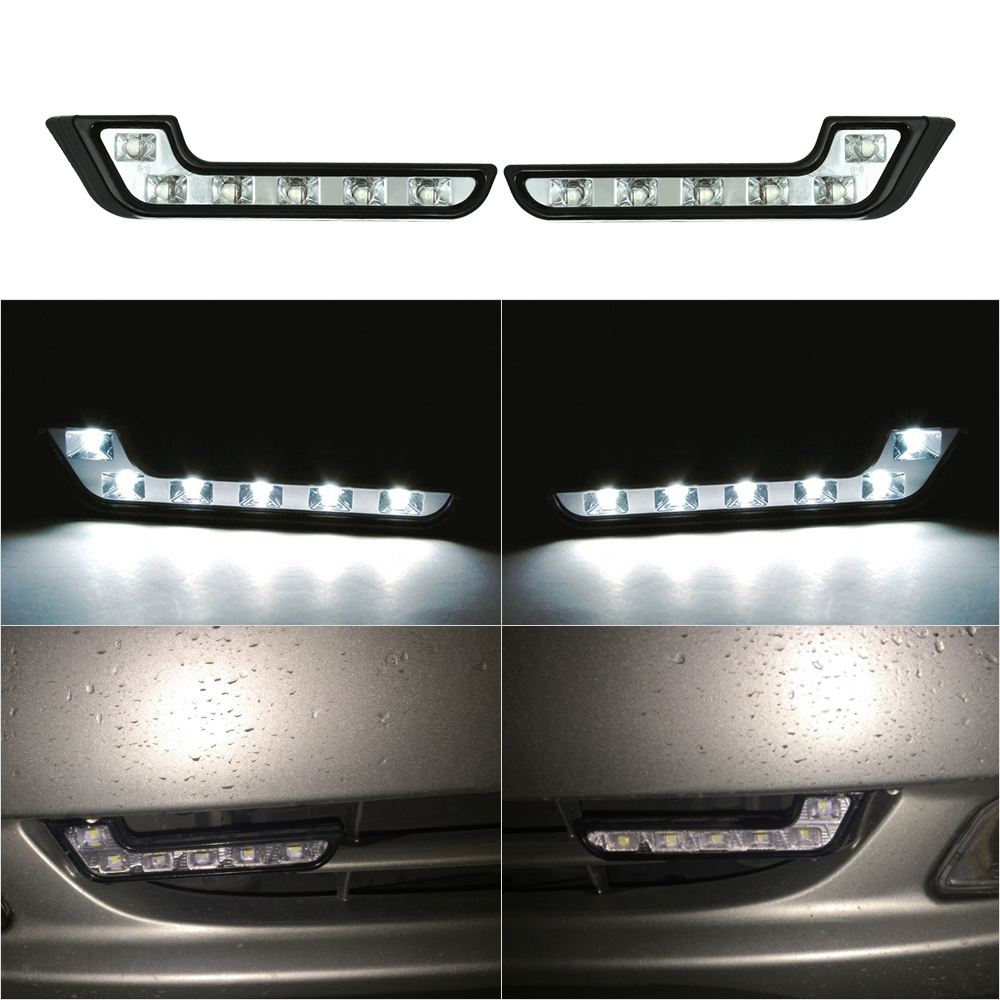Тип kkmoom для автомобилей 12V 2шт Л автомобиля 6 СИД DRL дневного управляя света туман Лампа супер белый свет автомобиля агрегатом