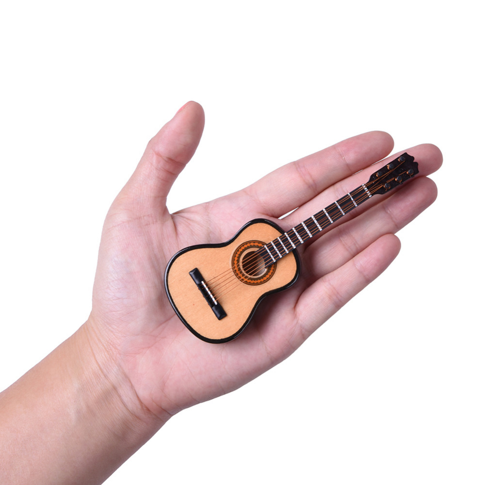 Mini Classic Guitar With Support Miniature Wooden Musical Instruments Collection Decorative Ornaments Model Decoration Gifts wooden 1 12 miniature guitar mini acoustic musical bass instrument ornaments dollhouse case electric model toys accessories