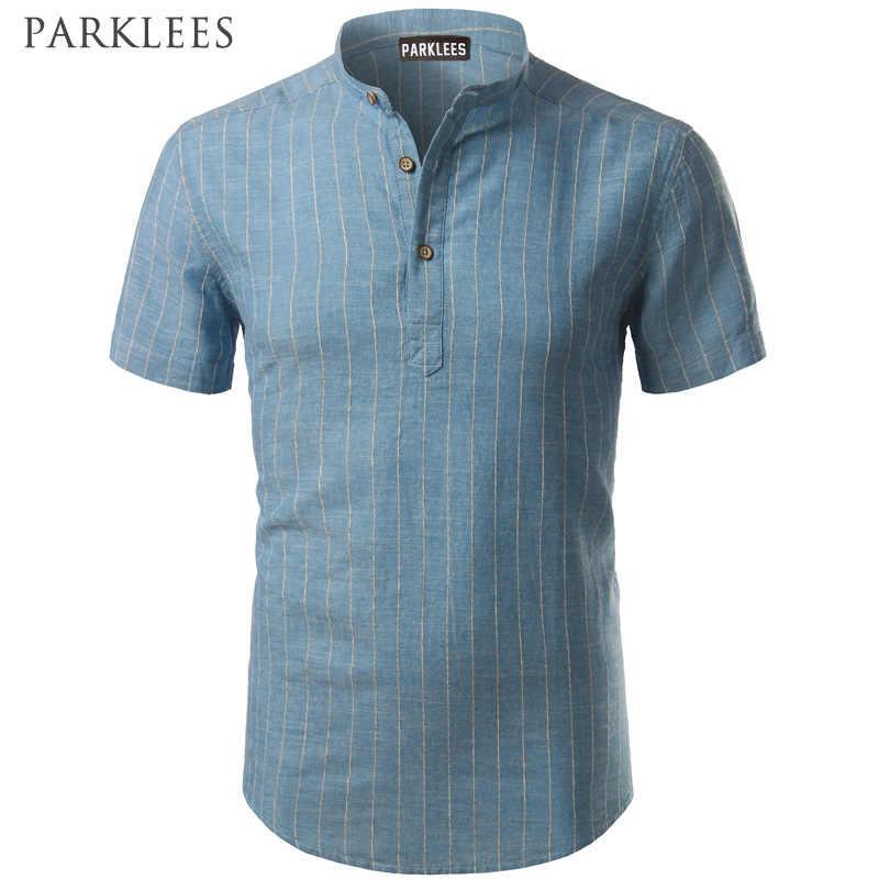 Полосатая Льняная мужская рубашка, фирменная новинка, хлопок, лен, Хенли, повседневные тонкие рубашки, подходят для мужских платьев, рубашки с коротким рукавом, рубашки на пуговицах