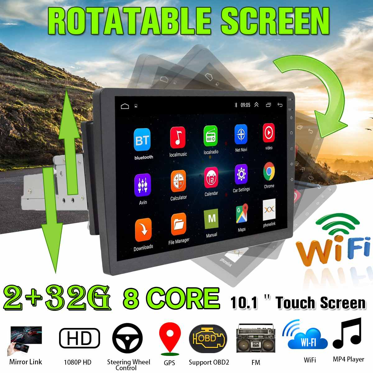 8 Core <font><b>Android</b></font> 8.1 Car <font><b>Radio</b></font> Player Multimedia 10.1inch 360 Degree Adjustable Touchscreen Player Nav GPS WiFi Car Stereo 1Din image