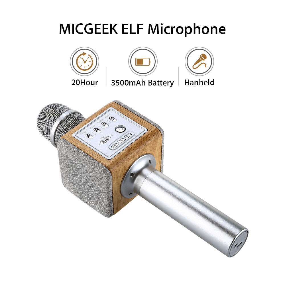 MICGEEK ELF Handheld Mobile Phone Wireless Karaoke BT Stereo KTV Home Capacitive Microphone Silver