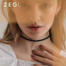 ZEGLchocker collar female black clavicle chain short paragraph simple neck jewelry neckband net red necklace crystal tassel pendant necklace clavicle chain female freshwater pearl mermaid short necklace women neck jewelry collar neckband