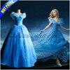 New Movie Cinderella Princess Cosplay Costume Adult Women Blue Deluxe Cinderella Girl Wedding Dress Custom Made