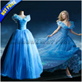 New movie Cinderella Princess cosplay costume adult women blue deluxe cinderella girl wedding dress Custom made