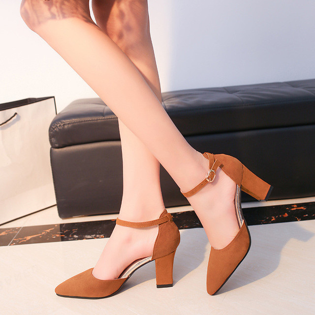 Women s Pumps Square High Heels Flock Party Shoes Elegant Casual Shoes  Women Rome Soft Wedding Female Buckle Strap Shoes ABT746 5ad4ca2a1b41