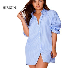 Blue striped long Blouse women shirt dress Sexy side split Elegant long sleeve waistband Casual beach dresses(China)