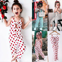 Fashion Sleeveless Polka Dot Toddler Baby Girl With Bow Romper Harem Pants Jumpsuit Outfit Clothes