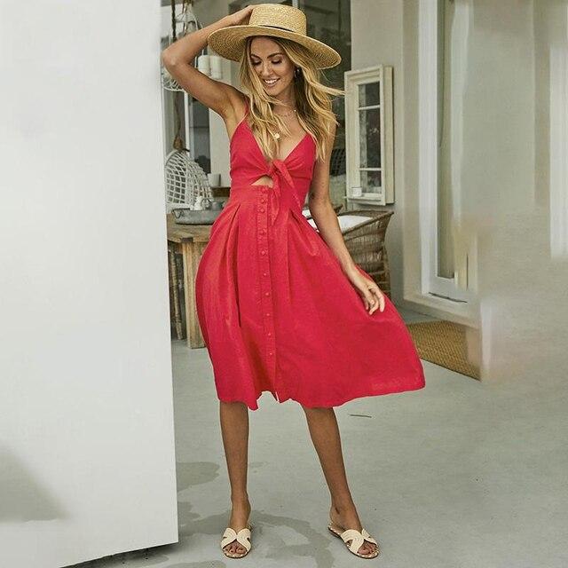 b80eb155146 NLW Yellow Spaghetti Strap Dress Bow Tie Midi Dress V Neck Button Up Back  Pleated Summer Girl Dress Sexy Chic Streetwear Vestido