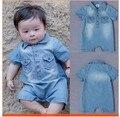 Новорожденный джинсы ползунки летнего мальчик девочка ковбой одежда ropa bebes mameluco комбинезон bebe barboteusemacacao bebe menino