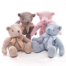 New 28cm Creative Knitted Joint Bear Cub Teddy Movable Plush Knitting Large Stuffed Animals Comfort Toy Cute