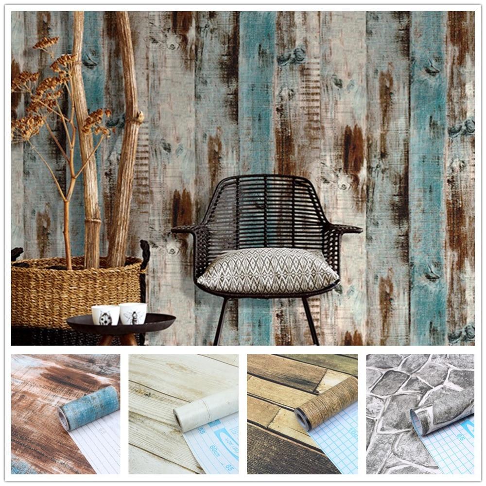 Vinyl Self Adhesive Wood Grain Wallpaper Rolls Rock Grain Waterproof Furniture Film Wall Sticker Kitchen Cabinet Home Decoration