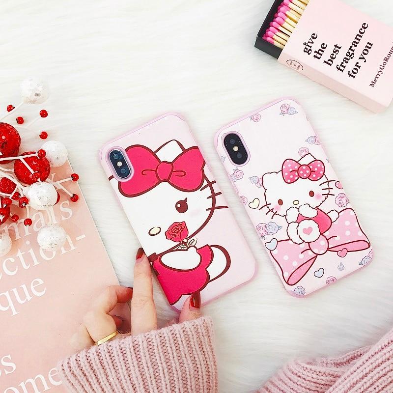 Милый мультфильм розовый рисунок «Hello Kitty» телефон Мягкий чехол для iphonex 8 7 6 6S 6 Plus 7 Plus 8 плюс как подарок для девочек