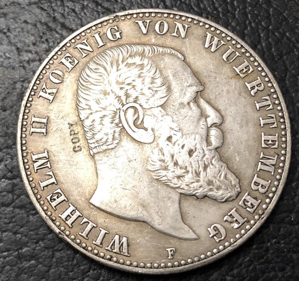 1901-F Королевство вюрттемберг 5 Марк-Вильгельм II Посеребренная копировальная монета