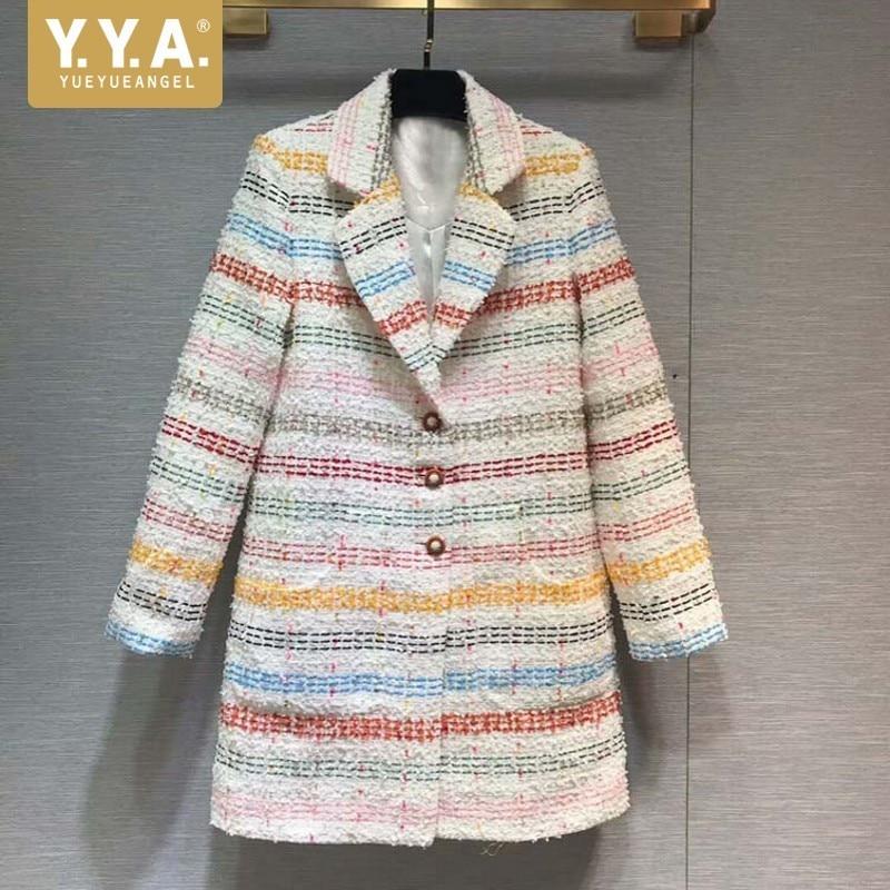 High Quality Medium Length Colorful Striped Womens Tweed Jackets Korean Fashion Single Breasted Lapel Straight Blazer Feminino