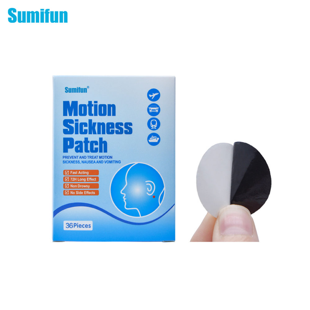 Sumifun 72Pcs Anti Motion Sickness Patch Fast Acting Behind Ear Chinese Herbal Plaster Dizziness Health Care Medical D0684