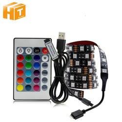 USB Светодиодные ленты 5050 RGB съемный светодиодный ТВ фонового освещения 50 см 1 м 2 м 3 м 4 м 5 M DIY Гибкие светодиодный свет