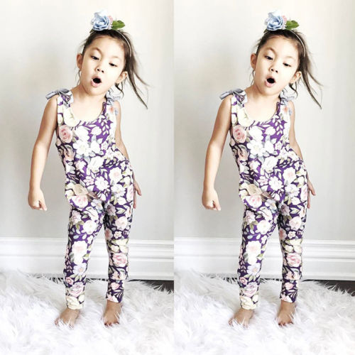Newborn Baby Girls Sleeveless Floral Romper Jumpsuit Playsuit Outfits Clothes