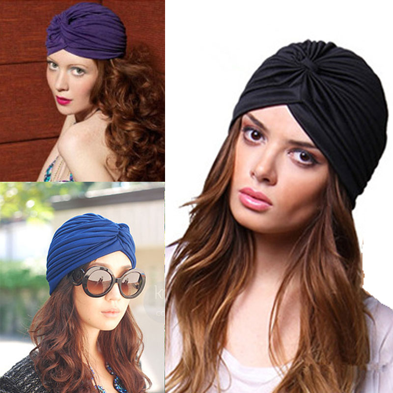 Cap Women Bandana Hair-Cover Pleated-Hat Turban Head-Wrap Indian-Caps Cloche Black White