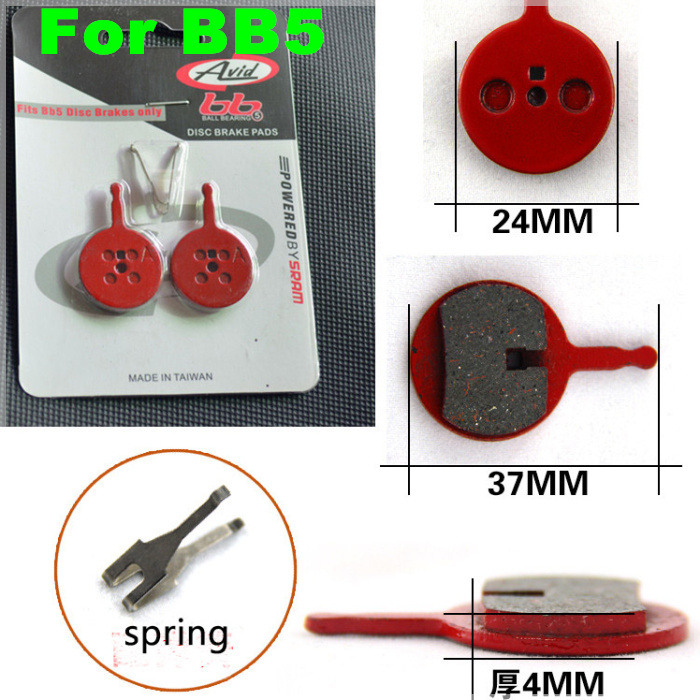 Avid bb5 brake pads mountain bike disc brake pads with spring/fits BB5 disk brakes only 2pairs/lot free shipping accessories avid bb5 disc brakes mountain bike road bike folding bike disc brake 160mm g3 hs1 discs bicycle brake accessories