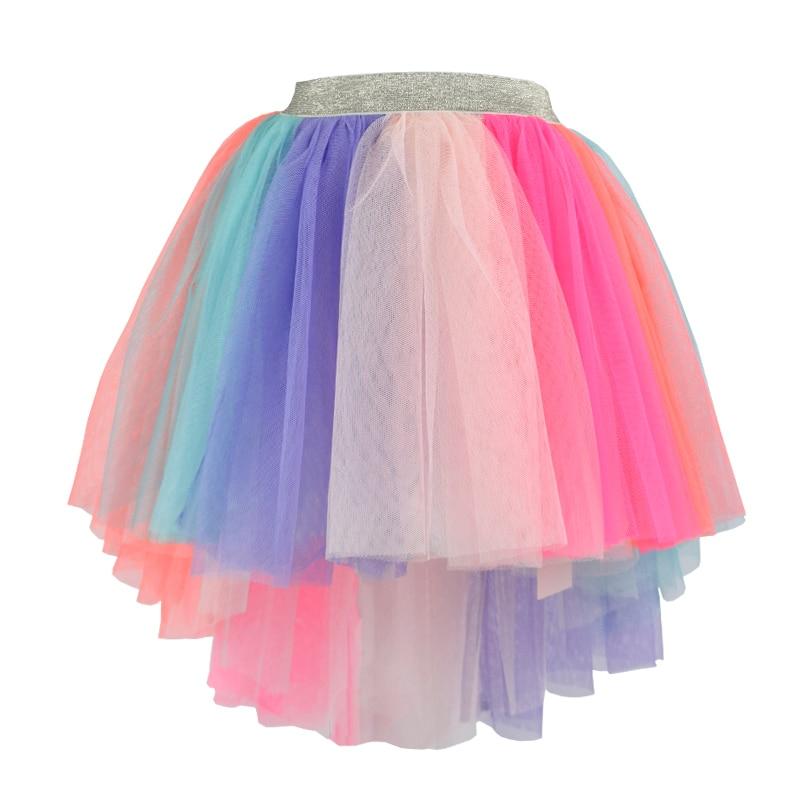 kids girl unicorn tutu skirt Rainbow Hi Low Asymmetrical tulle skirts Bridal Wedding Bridesmaid Prom Party Skirt Costume
