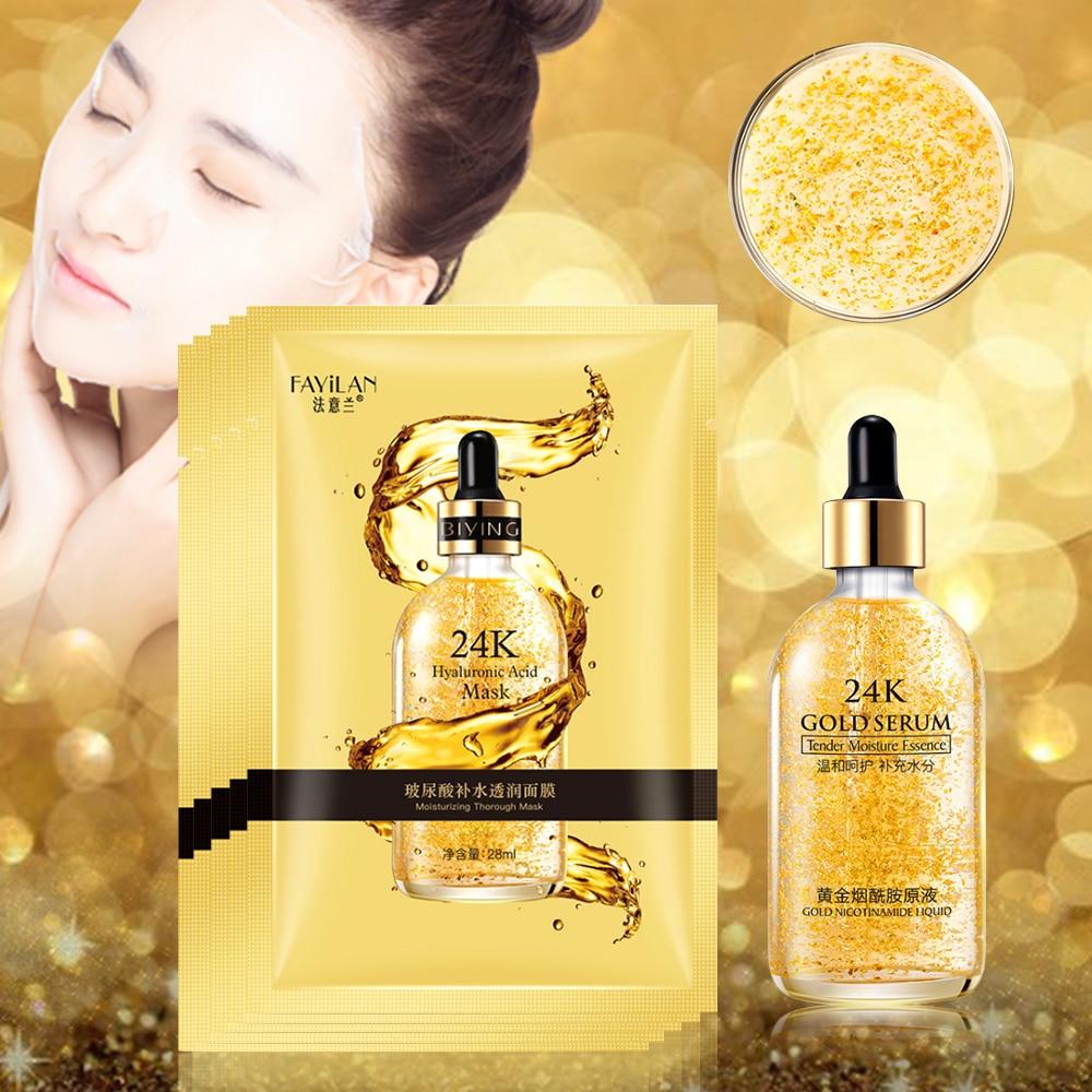 24K Gold Face Serum & Hyaluronic Acid Mask Set Moisturizing Whitening Lifting Firming Essence Anti-Aging Face Repair Skin Care