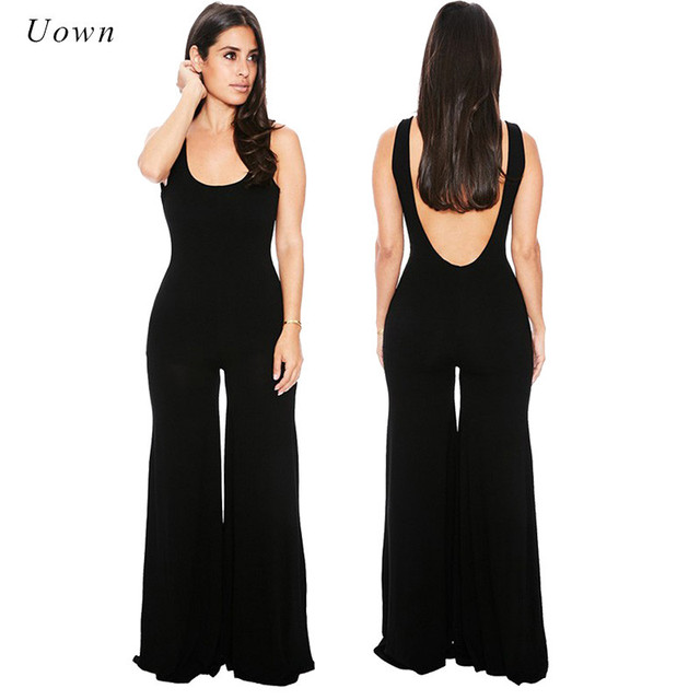 d90bb43de725 2018 Summer Solid Sleeveless Wide Leg Jumpsuit Women Casual Black One Piece  Long Pants Backless Romper Outfit Boot Cut Overalls