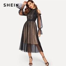 Shein preto ombro frio laço jugo dot malha plissado vestido 2019 primavera gola de cintura alta flounce manga vestidos elegantes