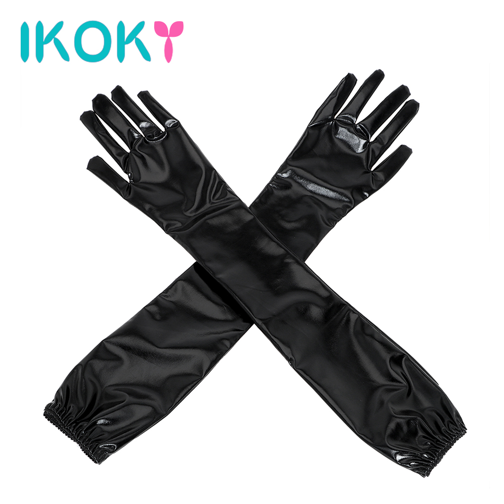 IKOKY Adult Games SM Bondage Erotic Toys Sex Glove Handcuffs Sex Toys for Couple Cosplay Long Black Sexy Arm Sleeve