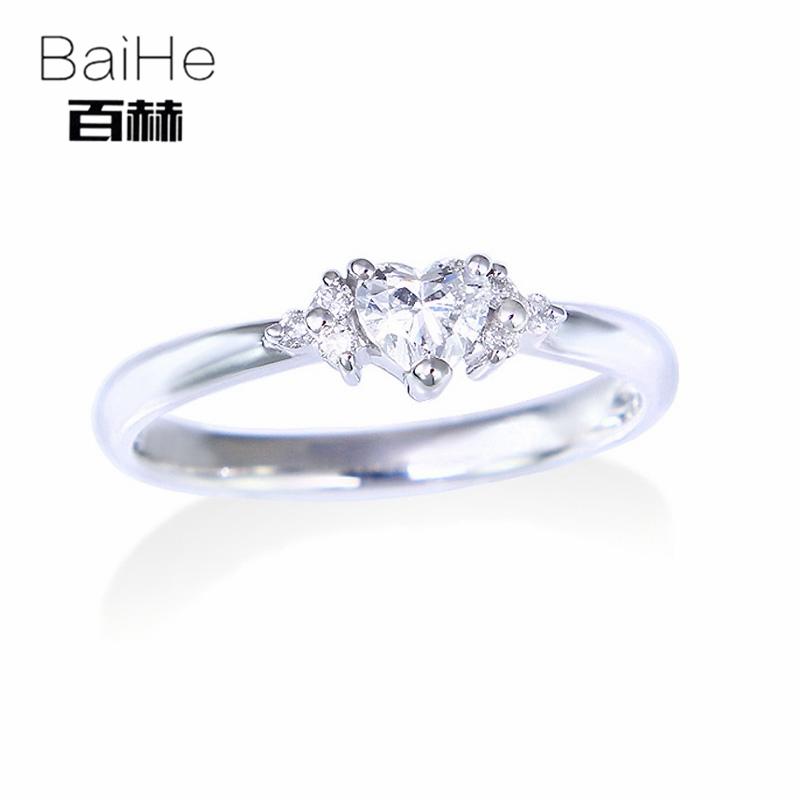 BAIHE Solid 14K White Gold 0.18ct Certified H/SI Heart 100% Genuine Natural Diamonds Wedding Women Trendy Fine Jewelry gift RingBAIHE Solid 14K White Gold 0.18ct Certified H/SI Heart 100% Genuine Natural Diamonds Wedding Women Trendy Fine Jewelry gift Ring