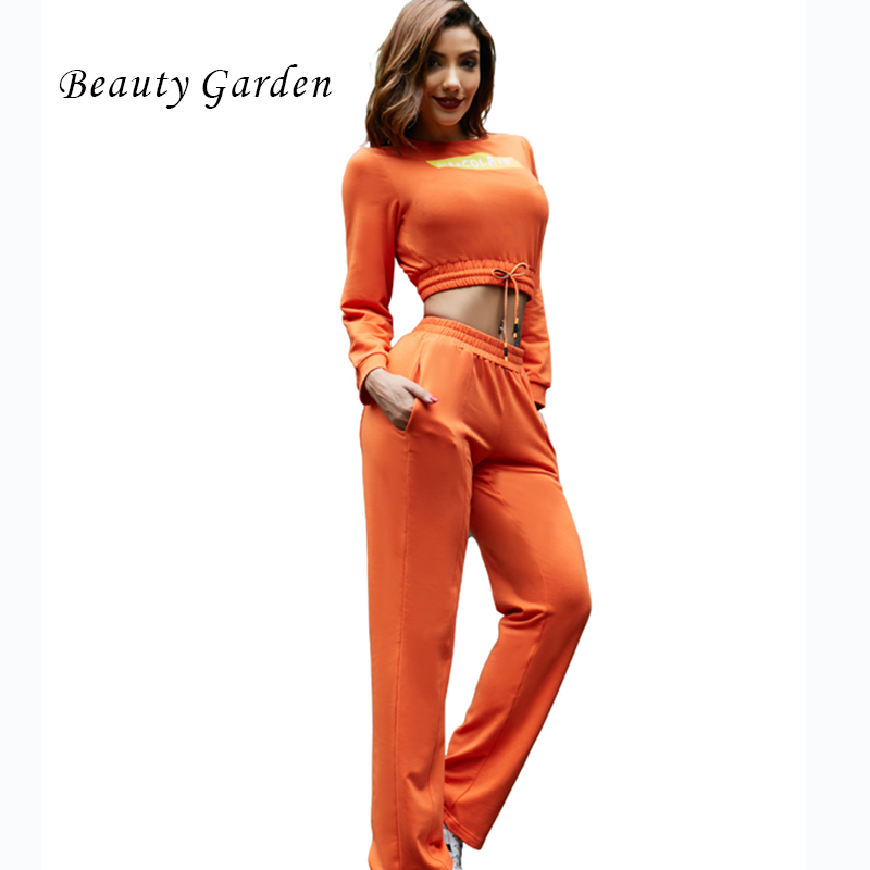 Beauty Garden Casual Women Set Long Sleeve Words Printing O-neck Autumn Hoodie Winter Top and Pants 2 Piece Set Women New