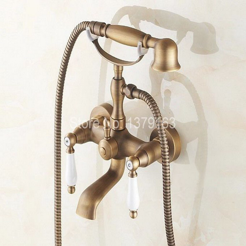 Wall Mounted Bathtub Faucet Clawfoot Bath Tub Filler Mixer Tap Set Hand Shower Antique Brass Dual Ceramics Handles atf153 shower faucet wall mounted antique brass bath tap swivel tub filler ceramic style lift sliding bar with soap dish mixer hj 67040