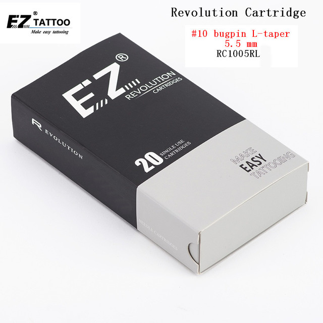 EZ Revolution Tattoo Needles Cartridge Regular Long Taper #10 0.30mm Round Liners RC1005RL 20 Pcs /box