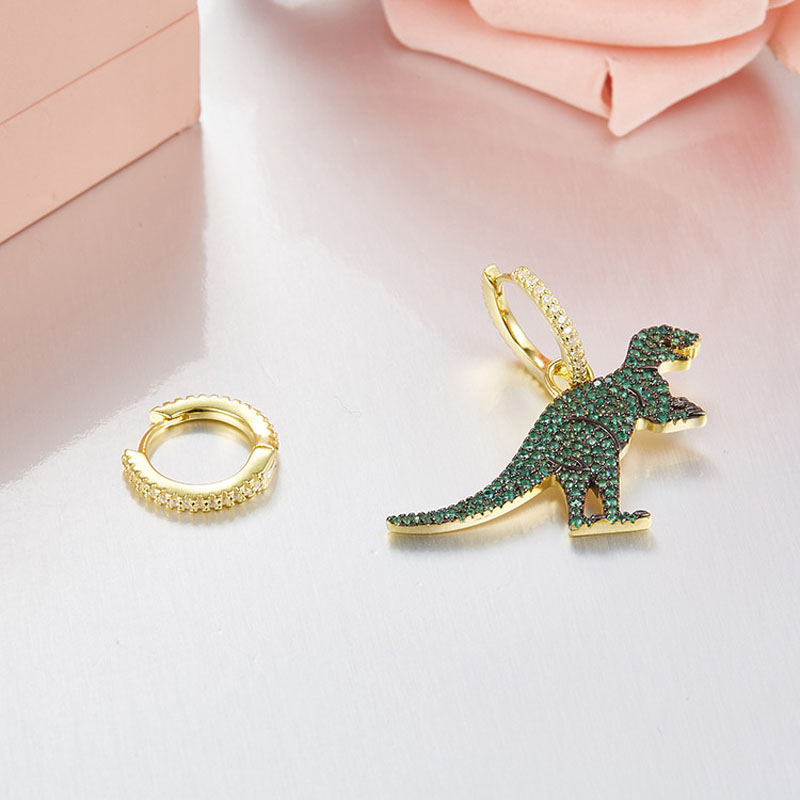 Image 2 - SLJELY Real 925 Sterling Silver Asymmetric Green Dinosaur 