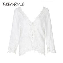 TWOTWINSTYLE Summer Hollow Out White Blouse For Women O Neck Flare Sleeve Irregular Shirt Female Fashion Clothes 2019 New(China)