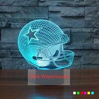ניו אינגלנד פטריוטס NFL כדורגל 3D מגע מנורת שולחן אקריליק קסדה 7 צבעים משתנים 3D USB מנורת שולחן LED לילה לילדים