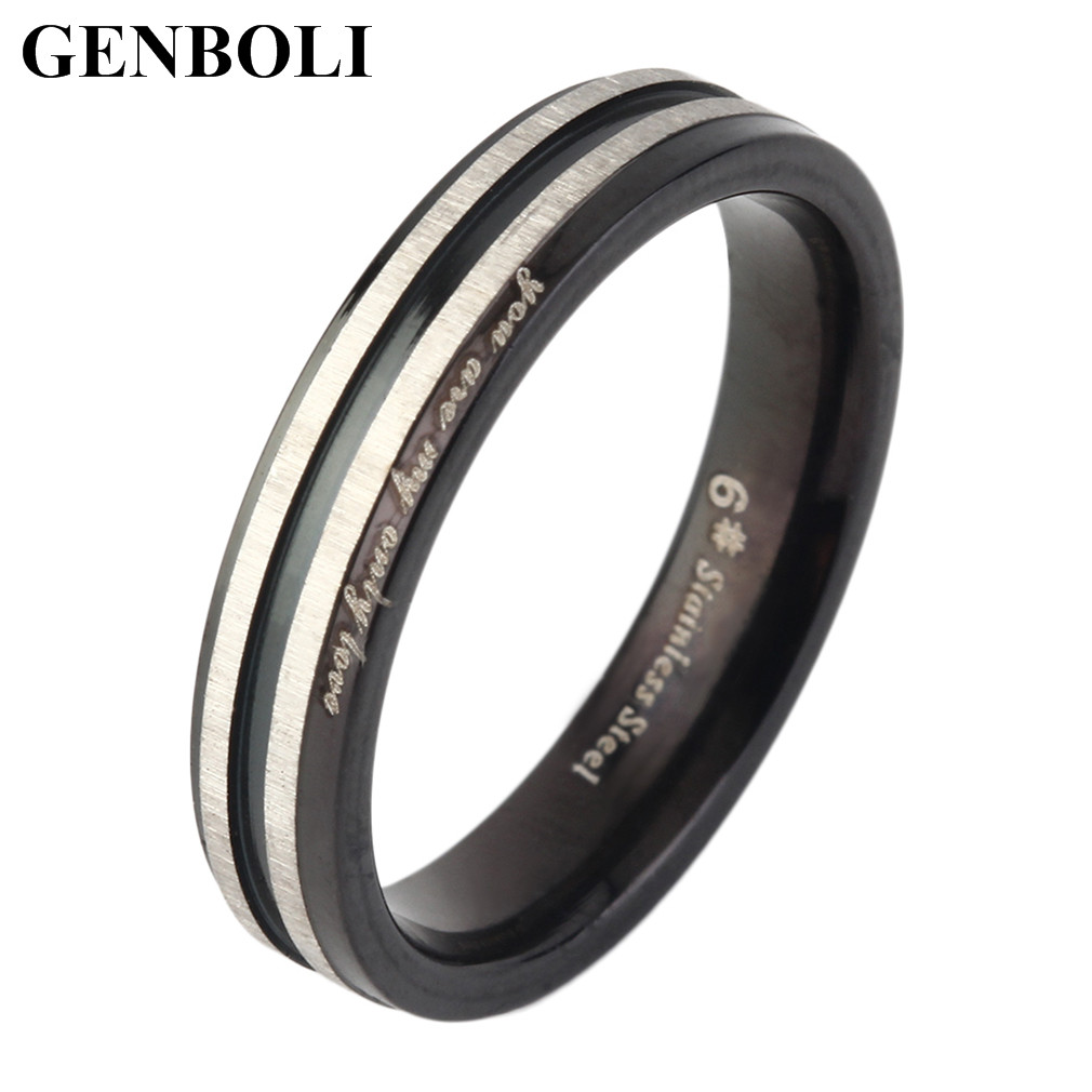 GENBOLI Love You Letter On Titanium Ring Fashion Lovers Ring Exquisite Jewelry Great Gift rings 4mm Woman/6mm Man