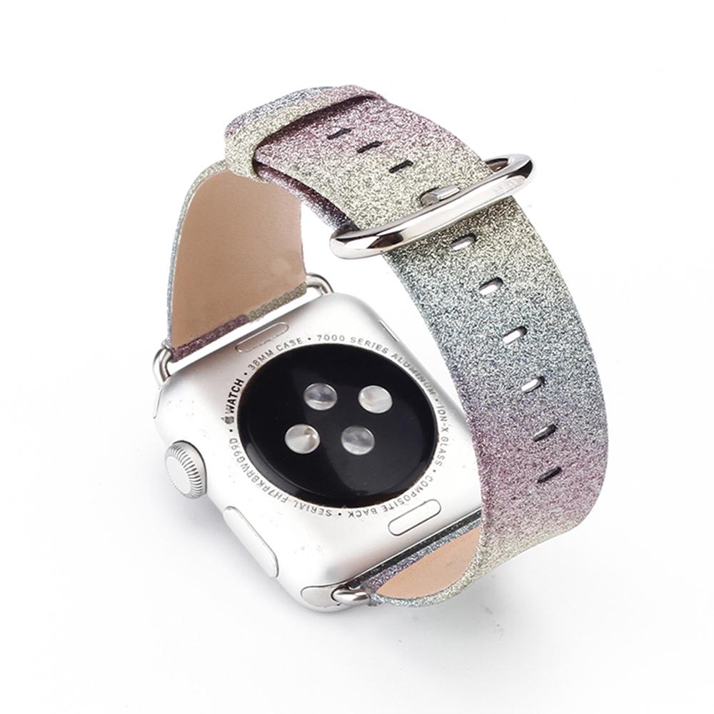 Prix pour Scintillant de luxe bling de noël pu montre en cuir bande pour apple watch 38/42mm iwatch bracelet or argent vert bleu arc-en-i126.