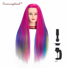 "Traininghead 26-28 ""Synthetic Hair Salon Mannequin Head Female voor pruiken Professional Hairstyles Training Head voor kappers"