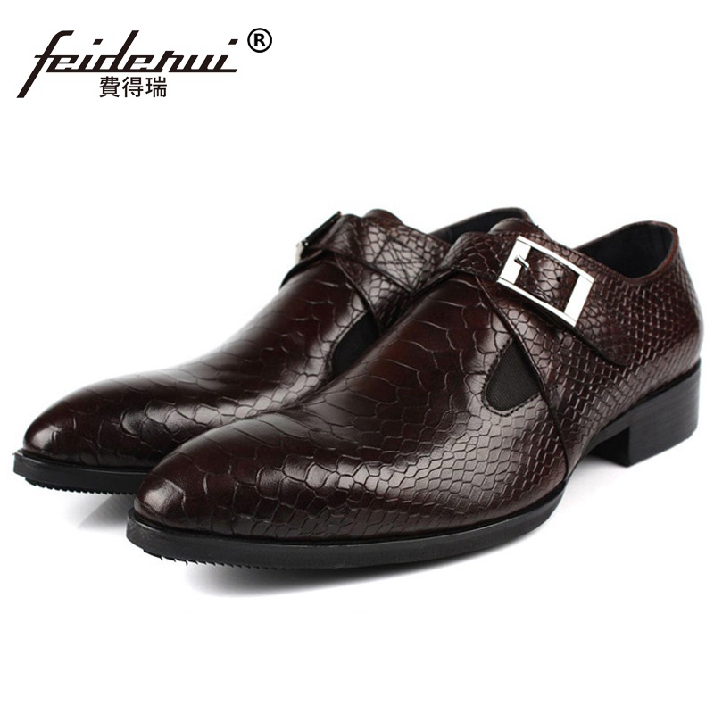 Basic Handmade Formal Monk Dress Shoes Luxury Brand Genuine Leather Oxfords Pointed Toe Men's Alligator Designer Flats FD36 plus size 2016 new formal brand genuine leather high heels pointed toe oxfords punk rock men s wolf print flats shoes fpt314