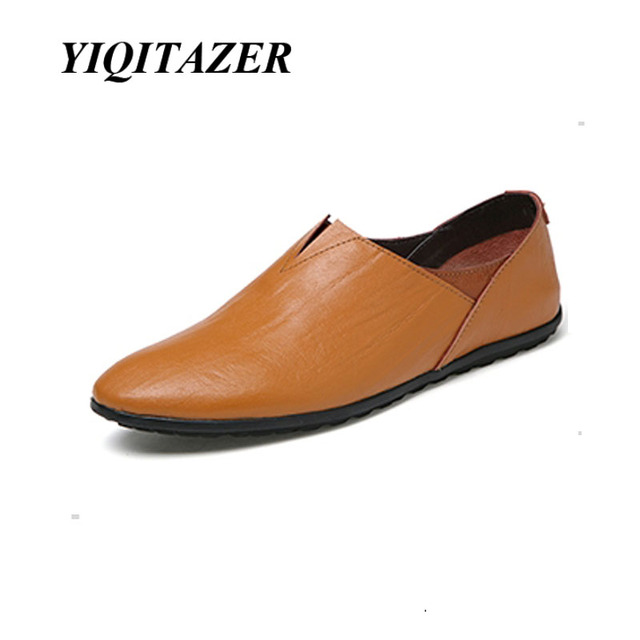 YIQITAZER 2017 New Fashion Light Summer Breathable Man Casual Shoes,Brand Cool Slipony Leather Shoes Mens Loafers Black Yellow