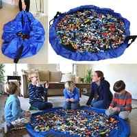 Tapete Infantil Novo Portátil Toy Kids Brinquedos Organizador Bolsa Com Cordão Bolsa Storage Bag and Play Mat Legoing Moda De Armazenamento Prático