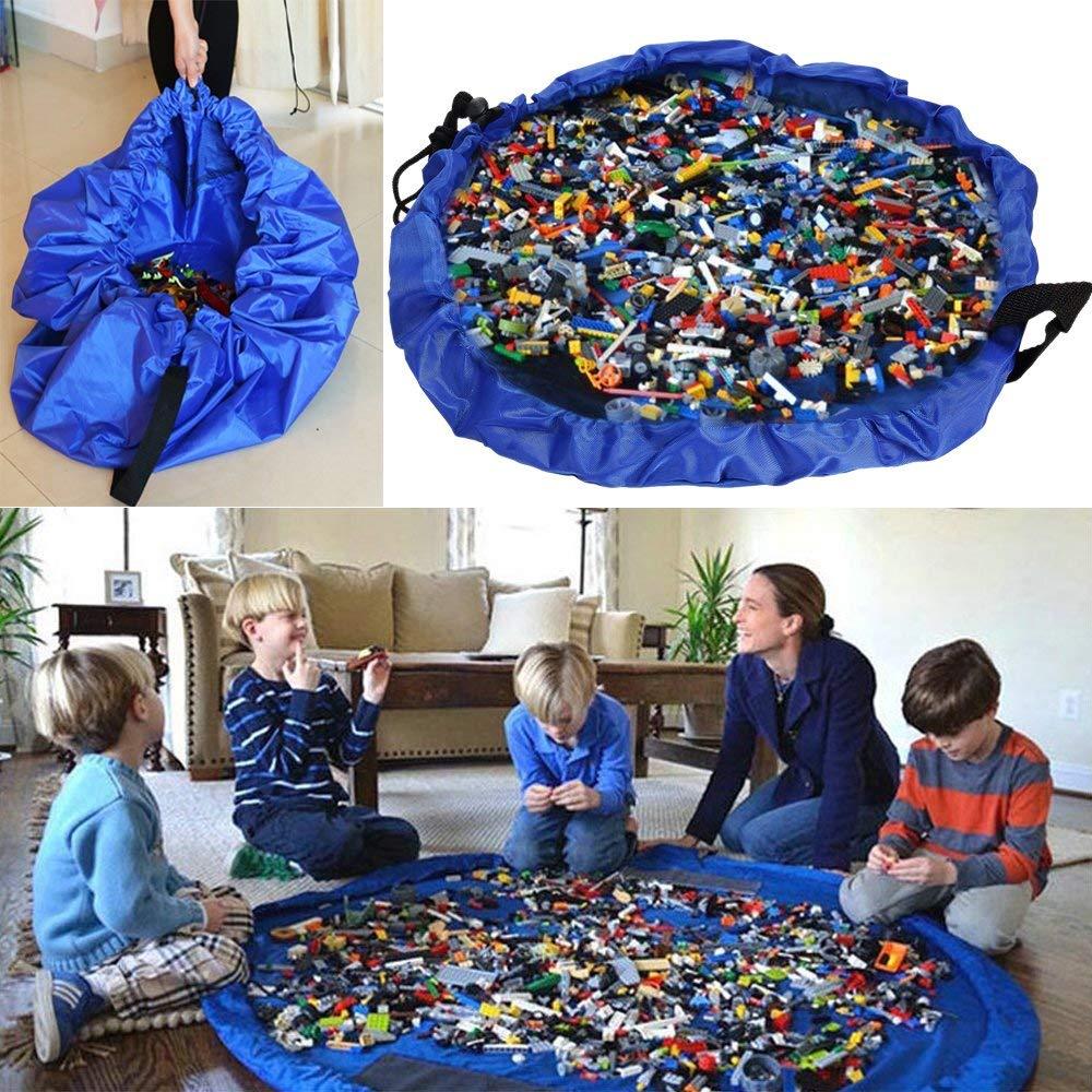 Tapete infantil novo portátil crianças brinquedo saco de armazenamento e jogar esteira legoing brinquedos organizador cordão bolsa moda prático armazenamento