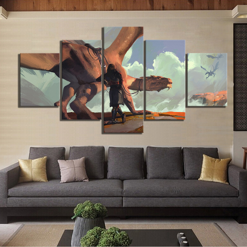 5 Piece HD Fantasy Art Drawing Paintings Dragon Artwork Wall Art Canvas Paintings for Living Room Wall Decor 2